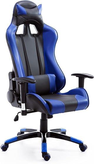 HOMCOM Silla de Oficina Juvenil Silla para Juegos de PC Ergonómica Reclinable con Respaldo Alto Acolchada Cuero PU (Azul)