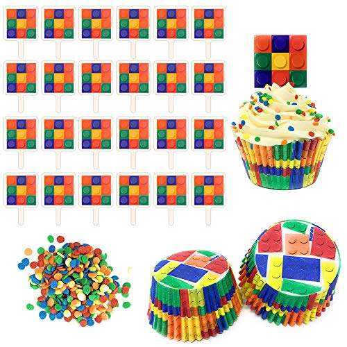 Brick Party Cupcake Decorating Kit - Set Includes 24 Building Blocks Cupcake Toppers, Baking Liners, Multi Color Sprinkles - For Boy or Girl Birthday Parties