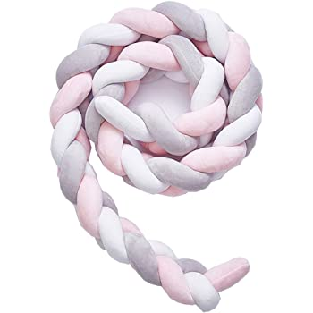 pink, 59 inch Baby Crib Bumper,Soft Knot Crib Pillow Decorative Baby Bedding Braided Crib Bumper Pads Bed Bumpers for Boys//Girls