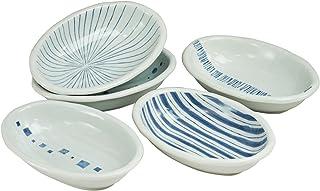 西海陶器染付幾何紋 カレー 皿 化粧箱入 日本製 直径 24 cm 5枚 セット 31767 カレー鉢揃