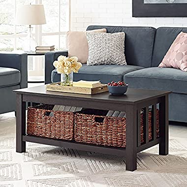 WE Furniture 40  Wood Storage Coffee Table with Totes - Espresso, 40 ,