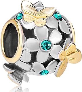 LovelyJewelry Lovely Spring Charms Butterfly Flying Over Emerald Birthstone Flower Beads For Bracelets