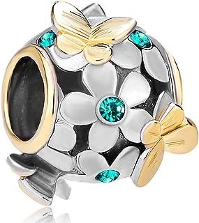 LovelyJewelry Butterfly Flower Jan-Dec Simulated Birthstone Charm Beads