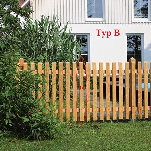 Gartenwelt Riegelsberger Premium Zaunlatte Typ B aus Lärchenholz 21x65 mm Höhe 120 cm sibirische Lärche Oben 30° abgeschrägt