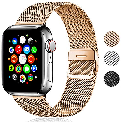 Correa de metal compatible con Apple Watch, malla de acero inoxidable con cierre magnético de repuesto para iWatch Series SE 6 5 4 3 2 1 (40 mm/42 mm, oro)