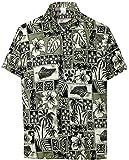 LA LEELA Casual Hawaiana Camisa para Hombre Señores Manga Corta Bolsillo Delantero Surf Palmeras Caballeros Playa Aloha L-(in cms):111-121 Halloween Negro_W403