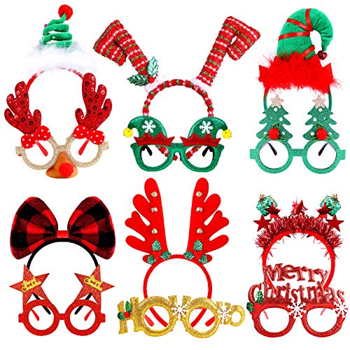 Aodaer 12 Pack Christmas Headbands and Glasses Frame Set Xmas Party Costume Party Hat Headwear Christmas Decoration Eyeglasses Christmas Creative Party Accessories Gifts