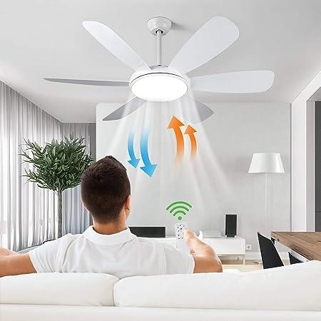 Albrillo Ventilateur de Plafond 2 en 1 - 132 cm Ventilateur de Plafond Ultra-Silencieux avec Lumière 3 Température de Couleur et 6 Vitesses au Choix, Minuterie et Fonction Inverse, Télécommande