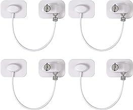 4 Piezas Cerraduras Nevera 18 cm Cable de Acero Inoxidable 304 Cerradura para Muebles con Adhesivo Fuerte Sin Taladro para Ventanas Puertas Refrigerador Gabinete Armarios Cajones-Rectangular Blanco