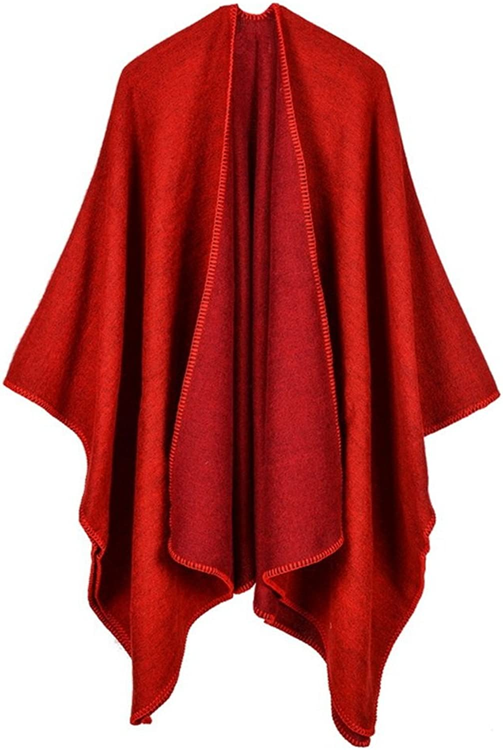 Lady's Shawl- Womens Shawl Solid color Vintage Pashmina Wrap Scarf Knitwear Tops Cloak Cape Poncho Spring And Autumn Perfect Gift 130  150CM Decoration ( color   Red1 )