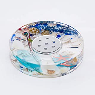 ADUTY Bathroom Accessory Acrylic Ocean Series Bathroom Organizer Soap Dish Soap Holder Soap Box with Floating Blue Glass and Sea Shell ZDAD004
