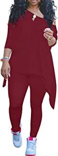 Lounge Sets for Women Sexy Off The Shoulder Tops Shirts + Pants Set Causal 2 Piece Outfits Plus Size