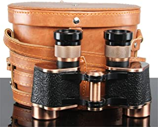 Binoculars 8X24 HD Telescope Full-Metal Binocular with Leather Bag LLL Night Vision Bronze Mirror Portable,Binoculars