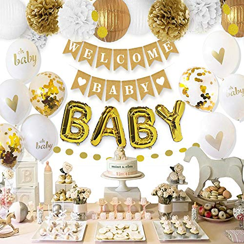 Mint+Elm Gender Neutral Baby Shower Decorations - 28 Items - White and Gold Party Decorations - Baby Balloons, Gold Letters Balloons, Banner, Pom Poms, Lanterns - Baby Shower Decorations for Boys