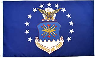 RainRoad US Air Force Flag 3x5, Printed Polyester US Military Banner   for Inside/Outside Use   UV Protected, Long Lasting   Brass Grommets for Easy Display   USAF Fl(US Air Force Flag)