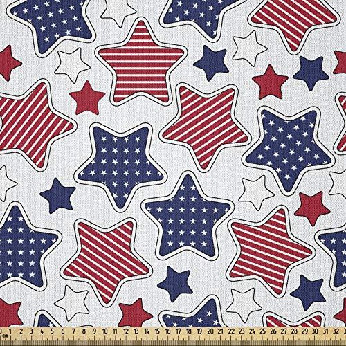 ABAKUHAUS Vereinigte Staaten von Amerika Stoff als Meterware, Sternfiguren mit Flaggen, Microfaser Stoff für Dekoratives Basteln, 1M (230x100cm), Indigo Weiß Rot