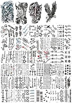 Dalin 64 Sheets Temporary Tattoos Warrior Elephant Dead Skull Koi Fish Eagle Hawks 40 Small Tattoo Sheets