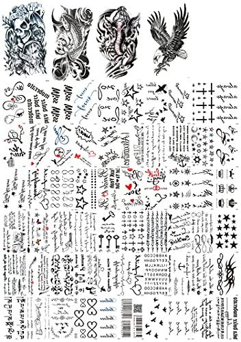Dalin 4 Sheets Temporary Tattoos, Warrior Elephant, Dead Skull, Koi Fish, Eagle Hawks