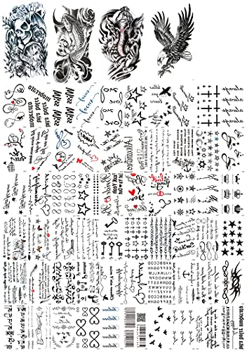 Dalin 64 Sheets Temporary Tattoos, Warrior Elephant, Dead Skull, Koi Fish, Eagle Hawks 40 Small...