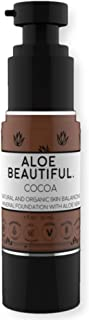 Organic Liquid Mineral Foundation Makeup with Aloe - All Natural Vegan Gluten Free Ingredients - Made In USA, Cocoa