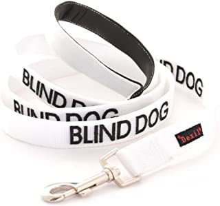BLIND DOG White Color Coded Alert Warning 2 4 6 Foot Padded Dog Leash (No/Limited Sight) PREVENTS Accidents By Warning Others of Your Dog in Advance