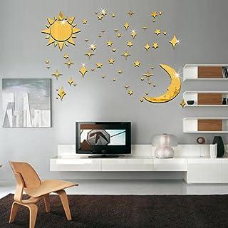 Lot de 36 autocollants muraux 3D pour chambre d'enfant Motif soleil, lune et étoiles Doré