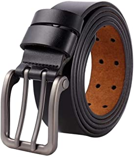 XHyingg Large size belt men's leather long pin buckle belt Personality casual super fat pants belt belt (Color : Black, Si...