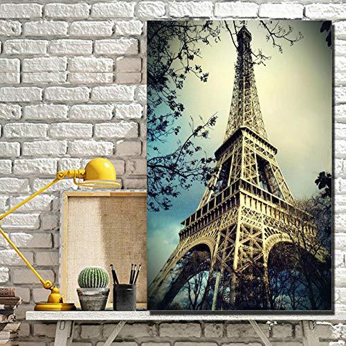 Wieoc Torre Eiffel Escenografía Carteles E Impresiones De Pared Lugares De Interés Turístico Mundialmente Famosos Torre Eiffel Romántica Pinturas En Lienzo Enmarcadas 60X90Cm