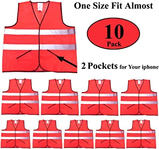 CIMC, Reflective Safety Vest with Pockets,10 Pack,Bright Construction Vest with Reflective Strip,Made from Breathable and Neon Yellow Mesh Fabric (orange)