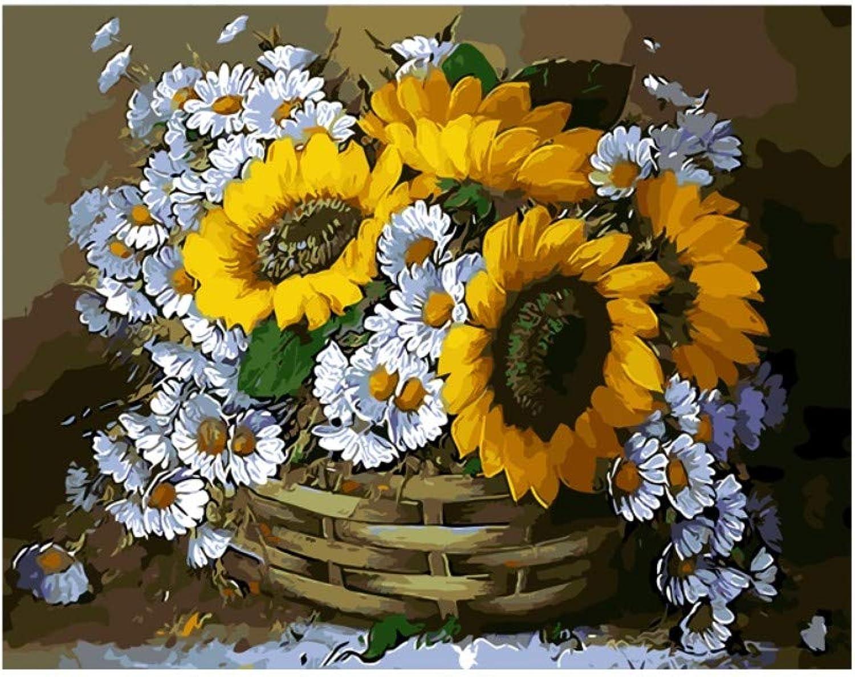 Yyboo DIY Malen Nach Zahlen Digital Canvas Ölgemälde Geschenk Erwachsene Kinder Kits Home Decorators - Sun Flower (Holzrahmen) B07PJTC69R   Ausgang
