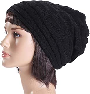 Helisopus Winter Trendy Warm Slouchy Beanie Cap Knit Soft Cozy Baggy Long Hats for Women and Men