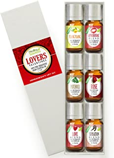 Lovers Valentine's Day Set 100% Pure, Best Therapeutic Grade Essential Oil Kit - 6/10mL (Aphrodisiac Blend, Love Blend, Patchouli, Rose, Sensation Blend, and Ylang Ylang)