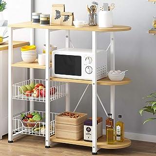 Kitchen Storage Rack Micro-ondes De Cuisine Industrielle Baker Rack 4 Couches + 3 Couches Plateau Avec 2 Fils Paniers Mesh...