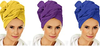 Towel Wrap Microfiber Head Turban For Women Set of 3 Quick Dry and Super Absorbent Twist Wraps For Curly, Long, Short, Or Thin Wet Hair After A Shower or Day At The Beach Purple, Yellow, Blue