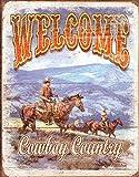 SIGNCHAT Welcome Cowboy Country Western Distressed Retro Vintage Blechschild Metallschild 20,3 x 30,5 cm