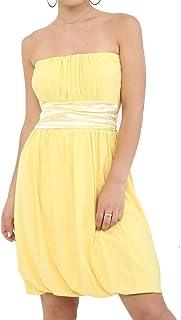 Rimi Hanger Womens Satin Bow Belt Waist Boobtube Sheering Top Ladies Bandeau Mini Dress S,M,L