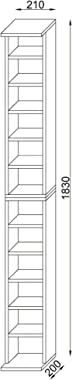 VCM Système d'Archivage Bigol pour 204 CDs, Imitation Structure Bois, Noir, 183x21x20 cm