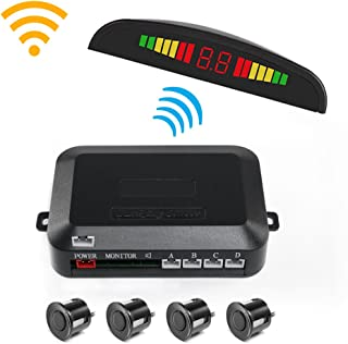 Wireless Car Reverse Backup Radar System, Wireless Parking Sensor Kit Car Vehicle Reversing Radar, 4 Sensors Alarm/Buzzer Reminder, Wireless Connection of LED Display and Host