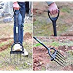 Ymachray 5-Tine Heavy Duty Pitch Fork for Gardening - Long Handled Digging Fork Garden Claw Weeder 13 DURABLE - Loosen, lift and turn garden materials with a durable garden fork featuring advanced ergonomics and a rugged build STAINLESS STEEL HEAD for rust resistance and minimal soil adhesion, extra-long double riveted socket for strength and durability T-HANDLE design eases stress on the hand and wrist