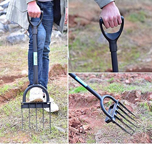 Ymachray 5-Tine Heavy Duty Pitch Fork for Gardening - Long Handled Digging Fork Garden Claw Weeder 3 DURABLE - Loosen, lift and turn garden materials with a durable garden fork featuring advanced ergonomics and a rugged build STAINLESS STEEL HEAD for rust resistance and minimal soil adhesion, extra-long double riveted socket for strength and durability T-HANDLE design eases stress on the hand and wrist