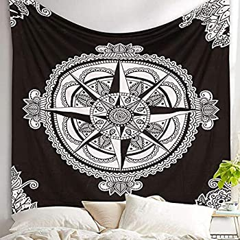 XIAOG Wall Hanging Tapestry,Aesthetic Psychedelic Mandala Black White Tapestry Hippie Flower Starcoin Art Tapestry Throw Bedspread for Teen Bedroom Living Room Decor,130X150Cm 51.2X59In