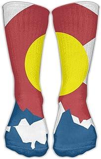 Bigtige, Hombres Mujeres Clásicos Calcetines de equipo Bandera de Colorado Montaña Con calcetines deportivos personalizados 50cm de largo-Toda la temporada