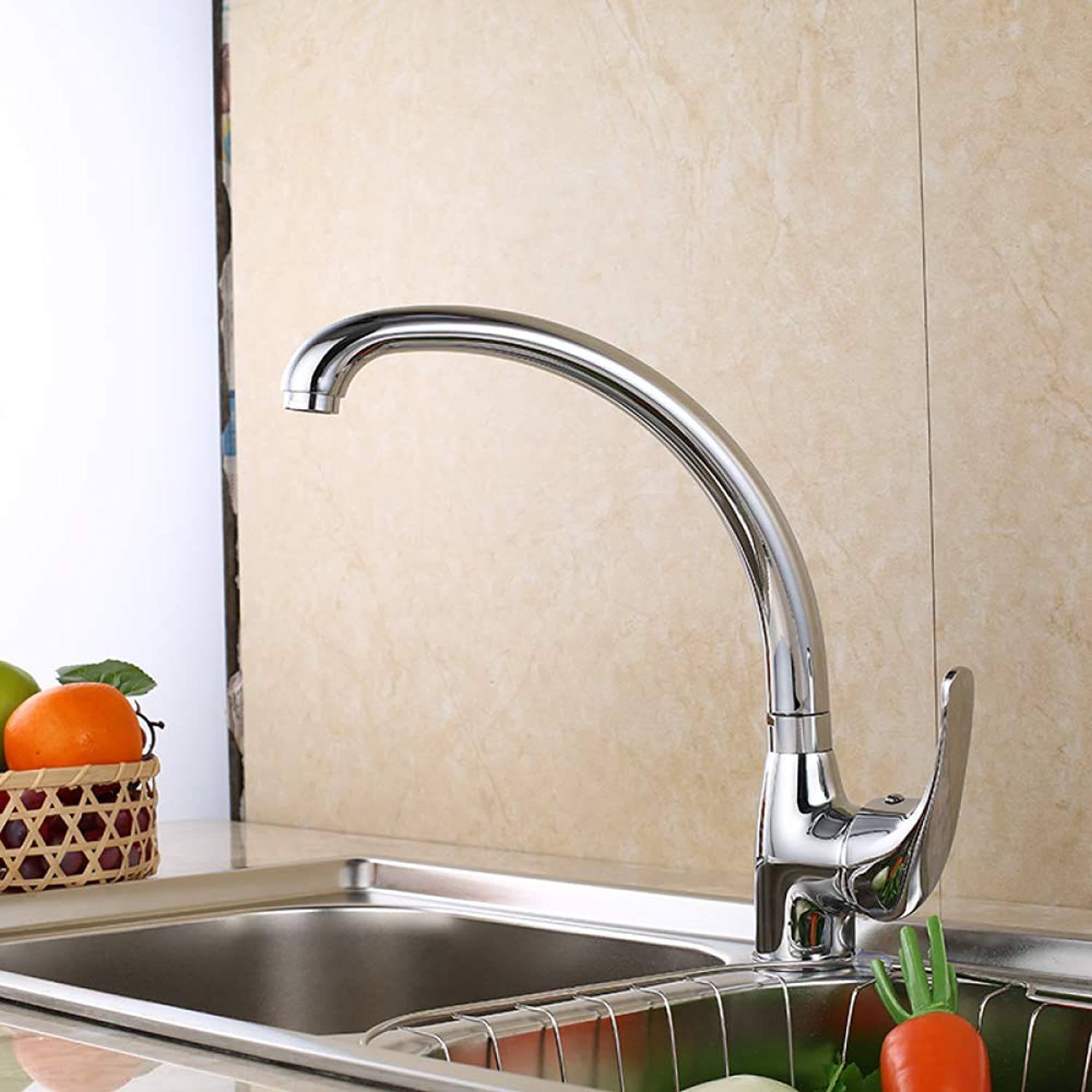 SLTYSCF Faucet Kitchen Faucet 360 Degree Swivel Solid Zinc Alloy Kitchen Mixer Cold and Hot Kitchen Tap Single Hole Water Tap