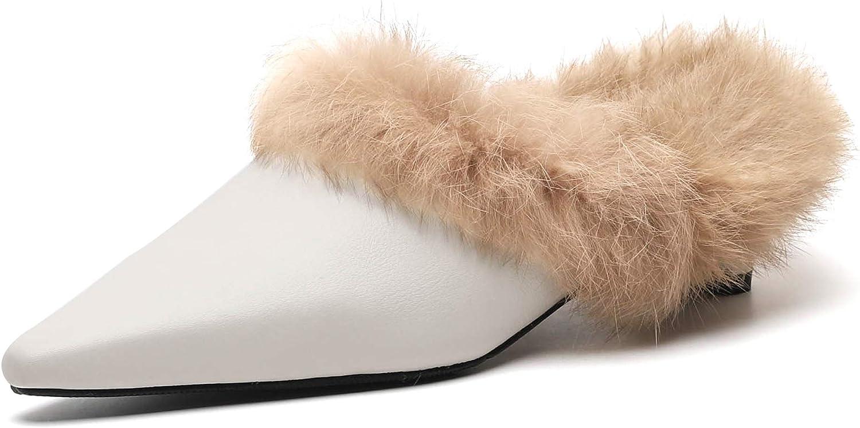 ULite ULite ULite dams Cozy Pointed Toe Slinders Mul skor Winter Fur Lining Holiday Slippers  officiell kvalitet