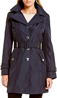 Women's Hooded Single-Breasted Water-Resistant Trench Coat, Navy, Size XL