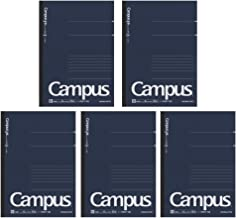 Kokuyo Campus Pre-Dotted Notebook, A5-dotted 6 mm Rule - 30 Lines X 50 Sheets - 100 Pages, Pack of 5 Dark Blue