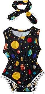 Sponsored Ad - UNICOMIDEA Newborn Toddler Baby Girl Tassel Romper Bodysuit Floral Sleeveless Jumpsuit Outfit Set Match Hea...