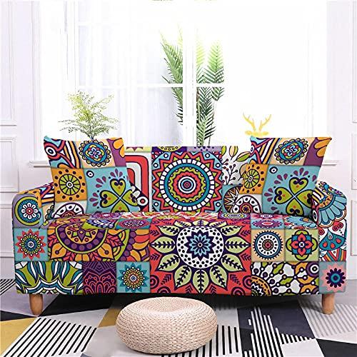 Funda Sofas 2 y 3 Plazas Mandala Multicolor Fundas para Sofa con Diseño Elegante Universal,Cubre Sofa Ajustables,Fundas Sofa Elasticas,Funda de Sofa Chaise Longue,Protector Cubierta para Sofá