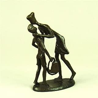 JNBDHSF EstatuaTocando Cobre Madre e Hijo Estatua Abstracta Metal Amor Maternal Personaje estatuilla Artesanal Regalo para el día de la Madre y decoración del hogar, un