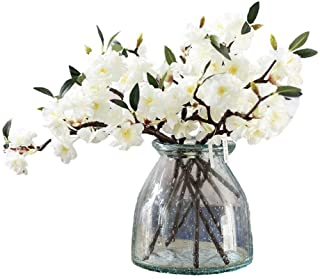 JAROWN Artificial Cherry Blossom Branches Flowers White 5pcs 17.3 Inches
